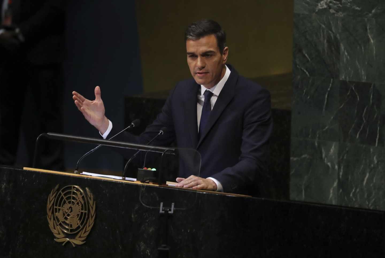 l presidente del Gobierno español, Pedro Sánchez, durante su intervención ante la Asamblea General de Naciones Unidas,