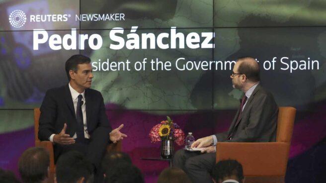 Pedro Sánchez, durante su entrevista en la sede de Reuters en Nueva York.