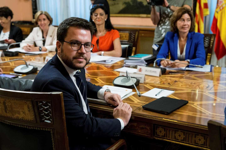 Pere Aragonès, vicepresidente del Govern y conseller de Economía, durante la reunión de la Comisión Mixta de Asuntos Económicos y Fiscales Estado-Cataluña.