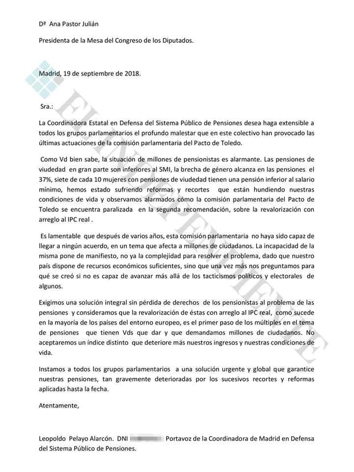 Escrito de la Coordinadora de Defensa de las Pensiones a Ana Pastor