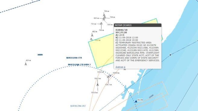Mapa de la restricción aérea que afectará a Barcelona este martes.