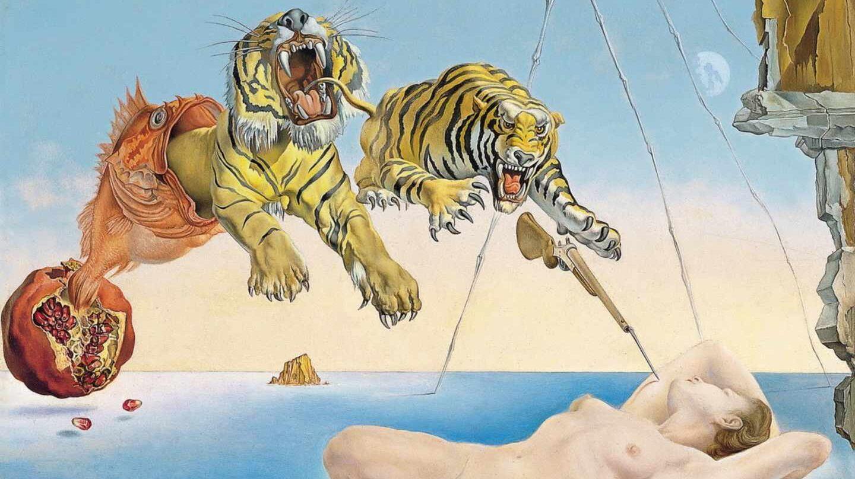 Sueño causado por el vuelo de una abeja alrededor de una granada un segundo antes de despertar de Dalí