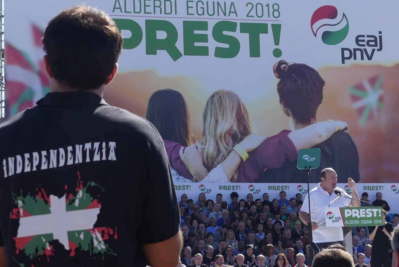 El presidente del PNV, Andoni Ortuzar, durante su intervención en el pasado 'Alderdi Eguna'.