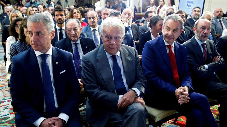 Urkullu, González, Zapatero y Rubalcaba, en el acto de Moncloa.