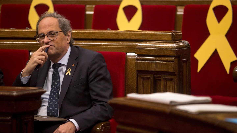 El presidente Quim Torra, en el Parlament.