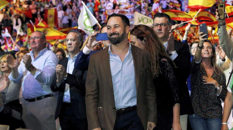 El presidente de Vox, Santiago Abascal, durante el acto que la formación celebra hoy en el Palacio de Vistalegre de Madrid, con el objetivo de llenar el recinto de banderas de España y exigir la convocatoria de elecciones anticipadas.