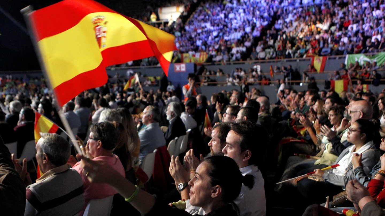 Acto convocado por Vox hoy en el Palacio de Vistalegre de Madrid, con el objetivo de llenar el recinto de banderas de España y exigir la convocatoria de elecciones anticipadas.