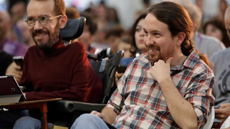 Echenique e Iglesias, en un acto de Podemos en Madrid.