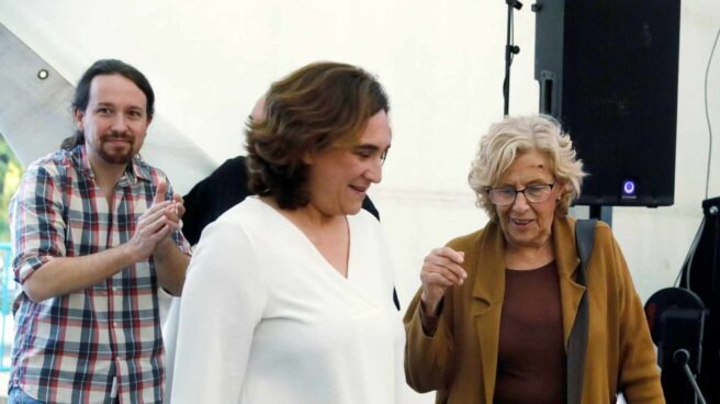 Iglesias, Colau y Carmena, en Madrid.