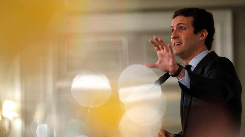El presidente del Partido Popular, Pablo Casado, durante su intervención en un desayuno informativo.