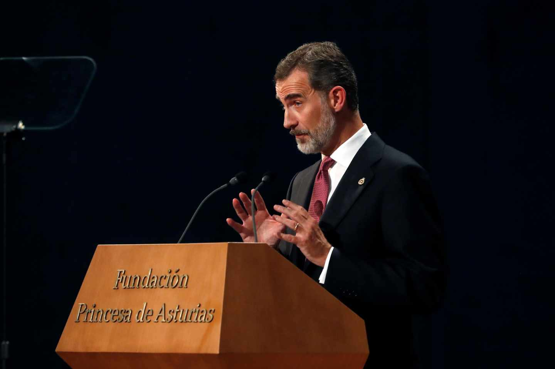 El rey Felipe VI, durante su discurso en Oviedo.