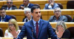 El presidente del Gobierno, Pedro Sánchez, durante su intervención en la sesión de control del pleno del Senado.