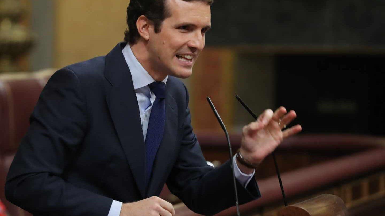 Pablo Casado, en la tribuna del Congreso.