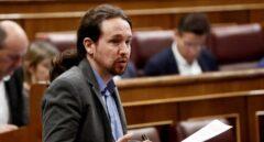 El líder de Podemos, Pablo Iglesias, durante su intervención en la sesión de control al Gobierno en el pleno del Congreso de los Diputados.