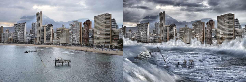 Recreación virtual de los efectos del cambio climático en la ciudad de Benidorm. Fuente: Greepeace