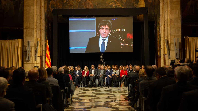 Intervención por videoconferencia de Carles Puigdemont, durante el acto de presentación del Consejo por la República.