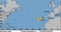 El huracán Leslie alcanzará España esta madrugada entre Cáceres y Zamora