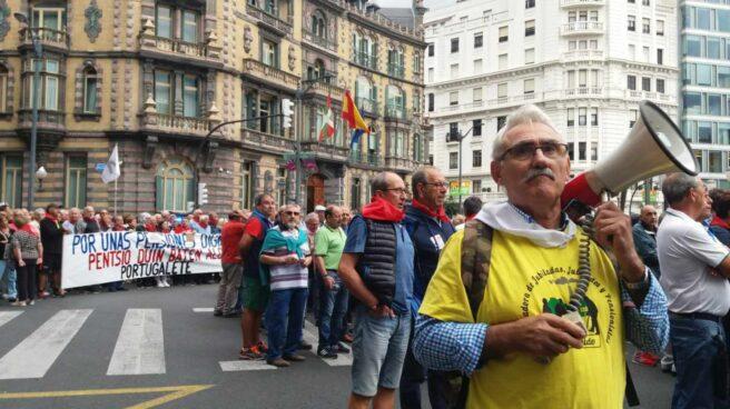 Manifestación de pensionistas en el centro de Bilbao.