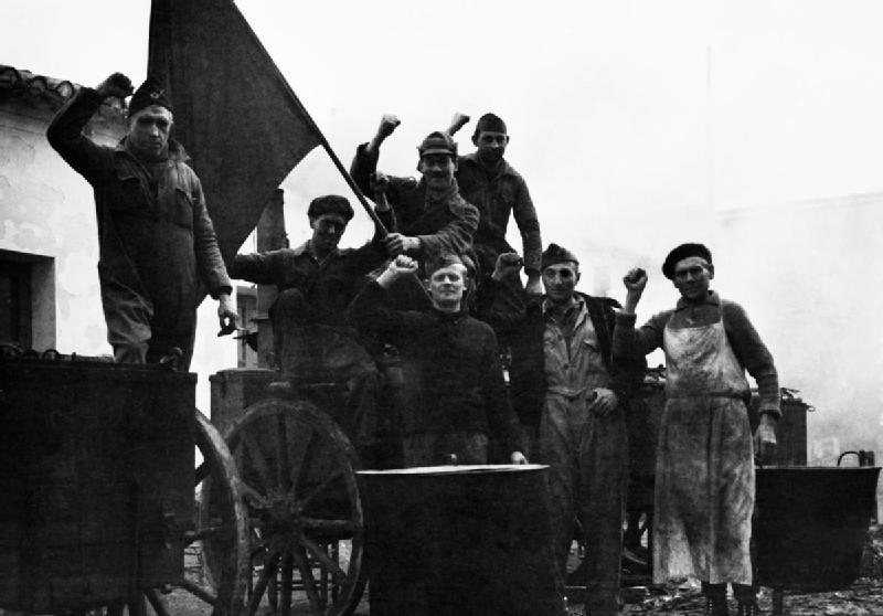 Miembros de las Brigadas Internacionales durante la Guerra Civil española.
