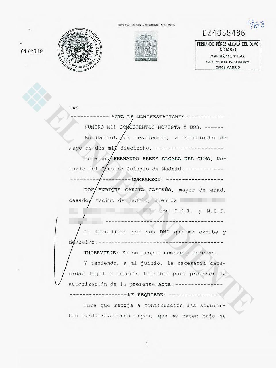 Acta notarial García Castaño