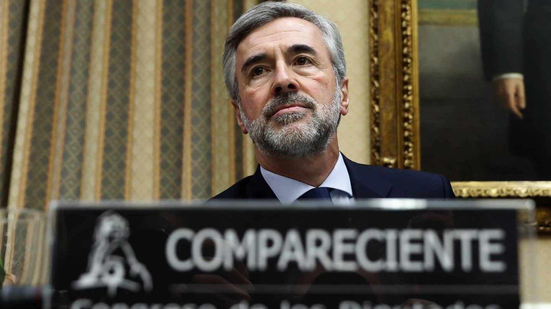 Ángel Acebes, durante su comparecencia en el Congreso de los Diputados.