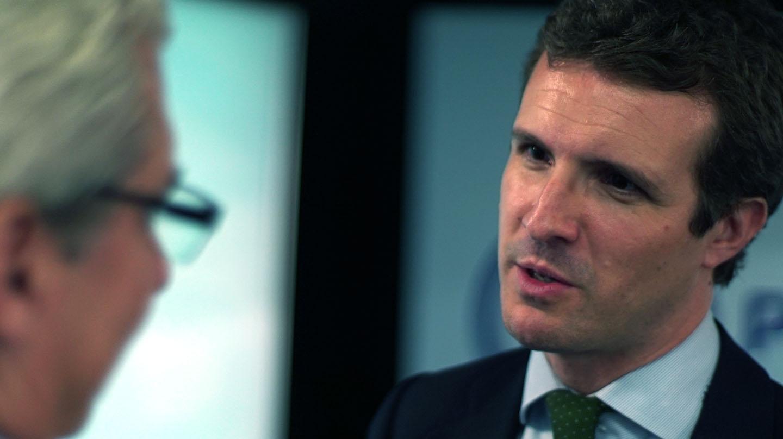 Pablo Casado durante la entrevista con El Independiente