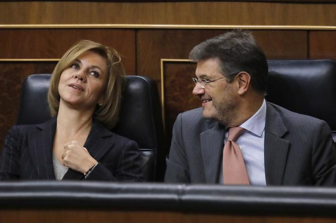 Cospedal y Catalá cuando se sentaban en la bancada azul del Congreso