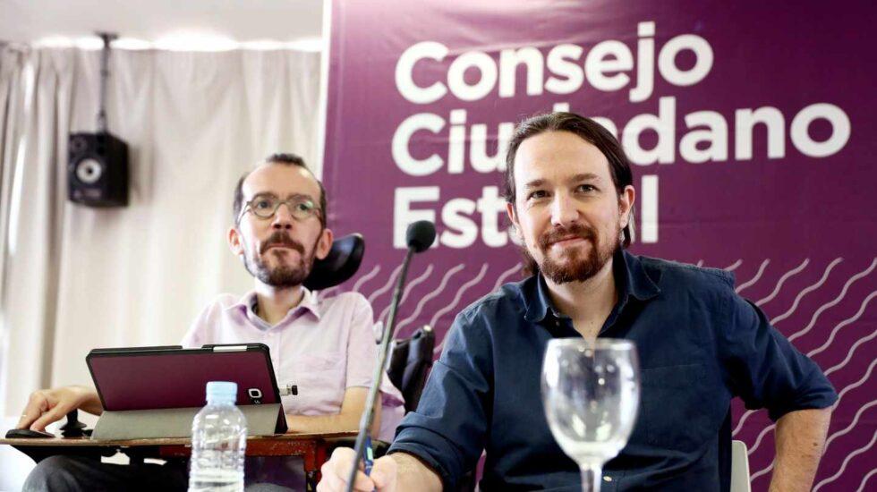Pablo Iglesias y Pablo Echenique, tras el Consejo Ciudadano Estatal de Podemos.