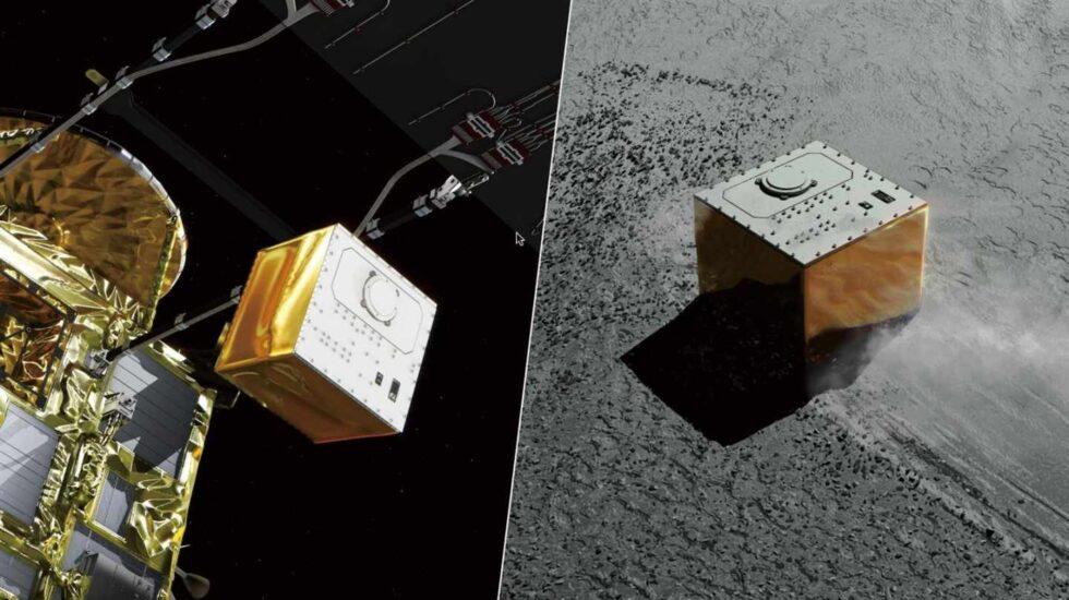 Rénder del aterrizador MASCOT sobre el asteroide Ryugu