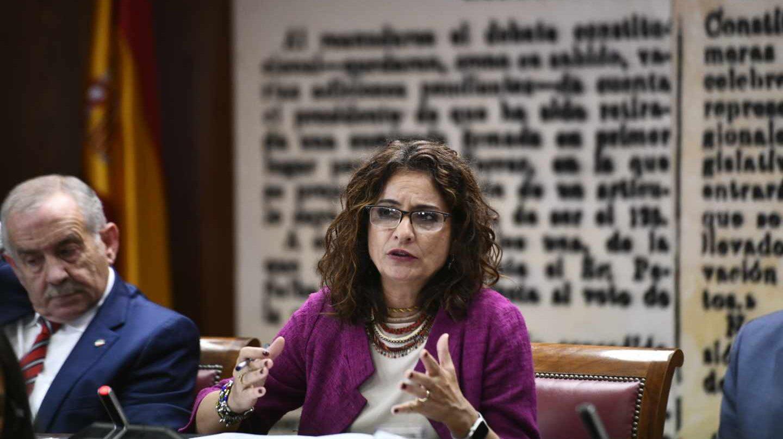 La ministra de Hacienda, María Jesús Montero, durante su intervención en el Senado.