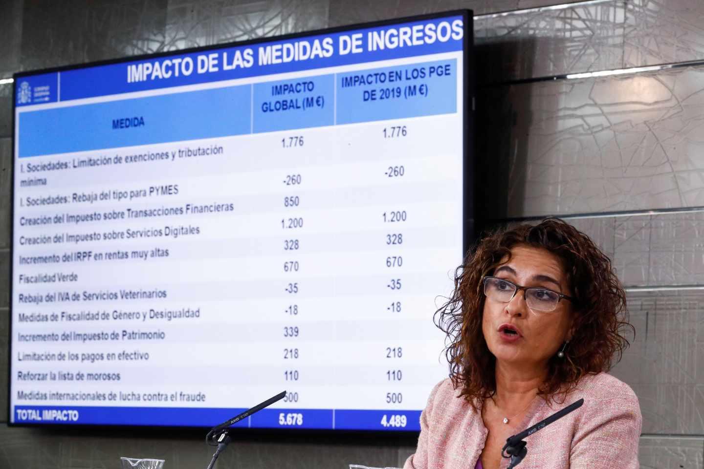 La ministra de Hacienda María Jesús Montero, durante la rueda de prensa posterior al consejo de ministros extraordinario, esta mañana en el Palacio de la Moncloa.
