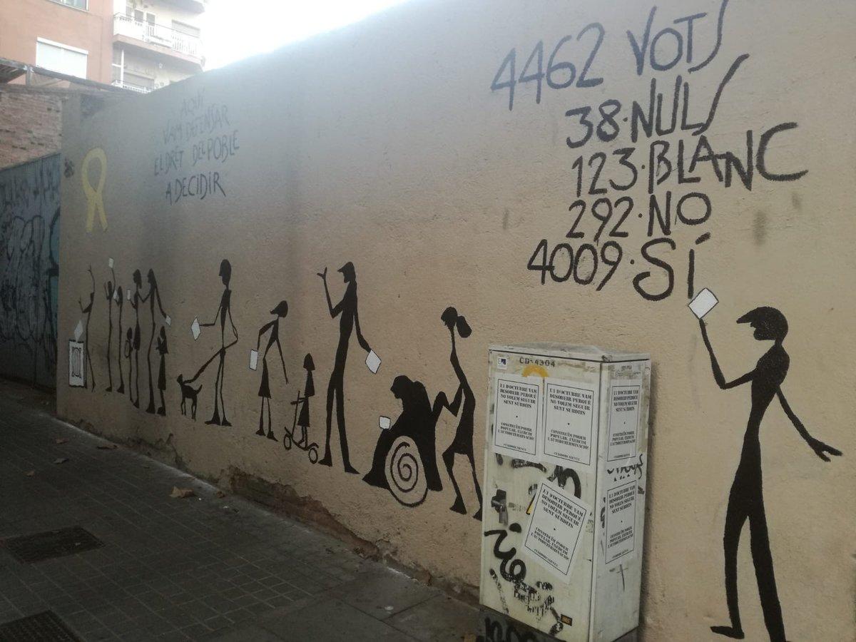 Mural de recuerdo al 1-O en el colegio Mestre Gibert i Camins de Barcelona.
