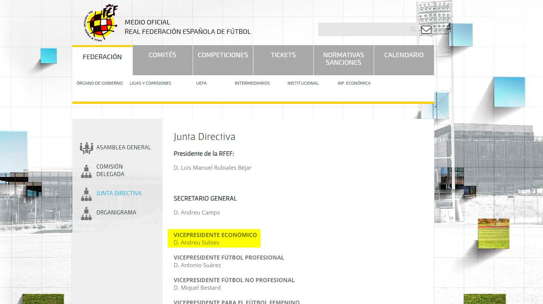 Composición de la actual junta directiva de la RFEF.