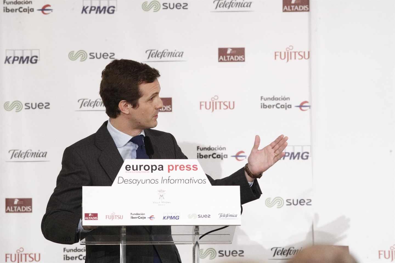 Pablo Casado en un desayuno de Europa Press.