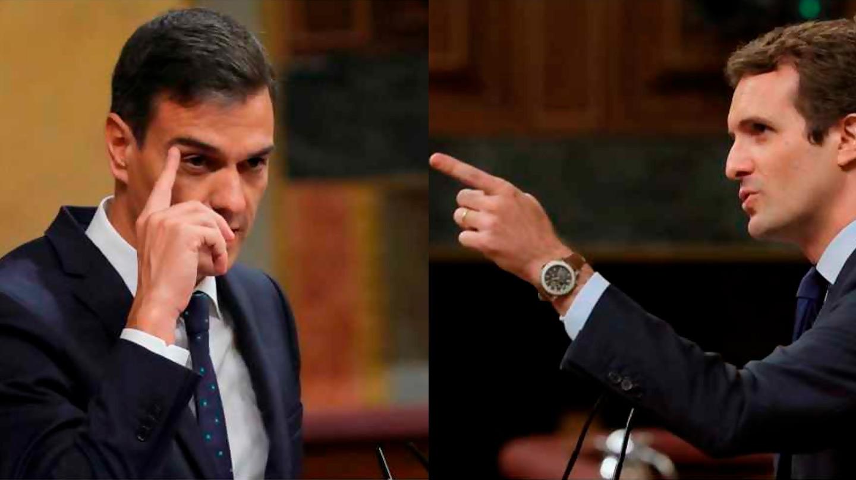 Pedro Sánchez y Pablo Casado debaten en el Congreso.