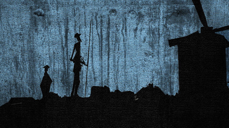 Don Quijote y Sancho Panza en La Mancha.