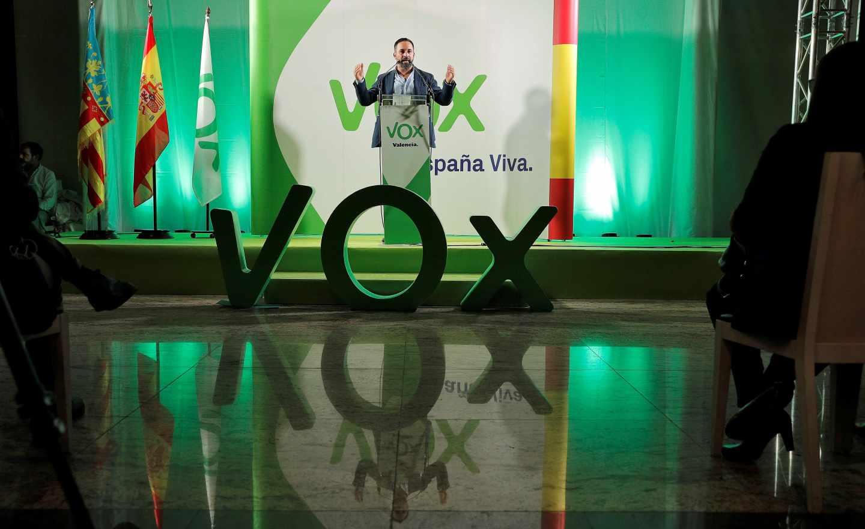 Santi Abascal, durante un acto de Vox en Valencia.