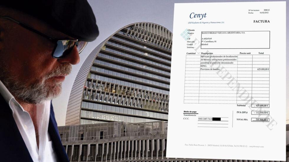 El comisario ya retirado José Manuel Villarejo y una de las facturas por servicios al BBVA.
