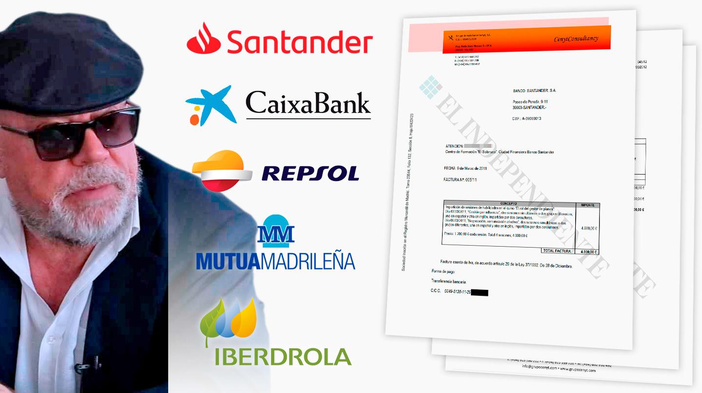 Facturas Villarejo Santander, Caixabank, Repsol, Mutua Madrileña e Iberdrola