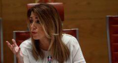 La presidenta de la Junta de Andalucía, Susana Díaz, durante su comparecencia este jueves en el Senado.