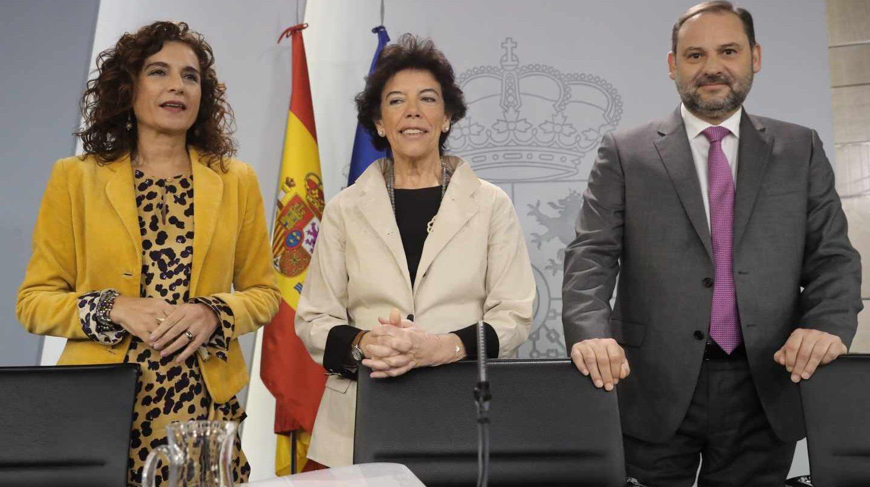 Montero, Celaá y Ábalos, tras el Consejo de Ministros.