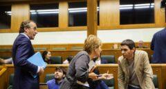 El presidente del PP vasco, Alfonso Alonso, junto a la portavoz de EH Bildu, Rebeka Ubera, en el Parlamento Vasco.