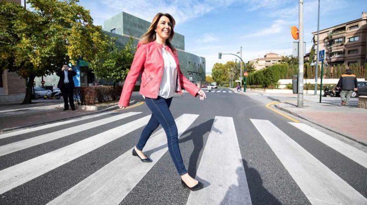 Susana Díaz, en el primer día de campaña de las elecciones andaluzas.