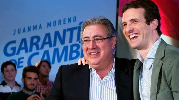 Zoido y Casado, en un mitin en Sevilla.