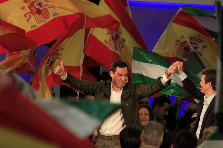 Casado y Moreno en un acto de campaña