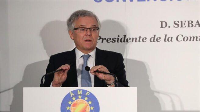 El presidente de la Comisión Nacional del Mercado de Valores (CNMV), Sebastián Albella, durante su intervención en un almuerzo de la Asociación de Mercados Financieros (AMF)