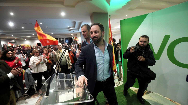 Santiago Abascal durante un acto de la campaña electoral andaluza