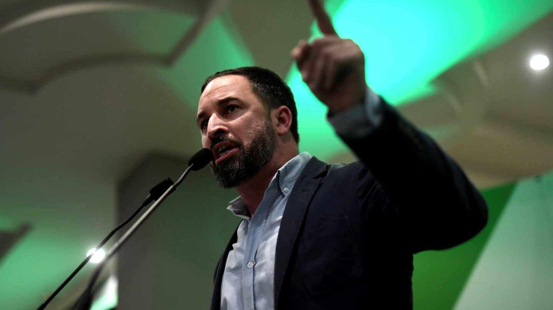 Santiago Abascal durante un acto de la campaña andaluza