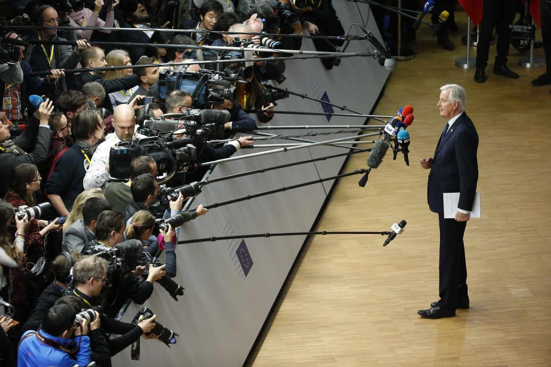 Michel Barnier, jefe del equipo negociador de la UE para el Brexit, en la cumbre que ha dado luz verde a la salida de Reino Unido.