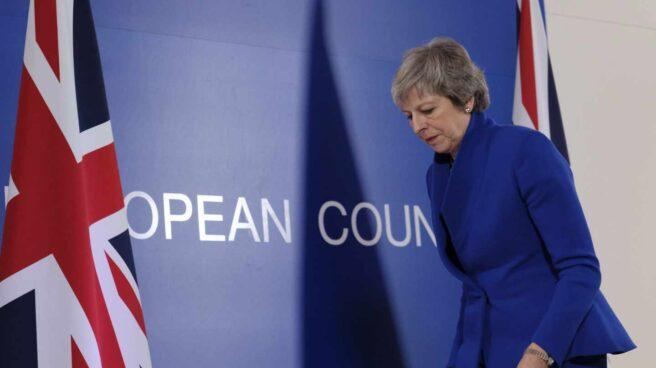Theresa May, antes de una intervención en Bruselas.